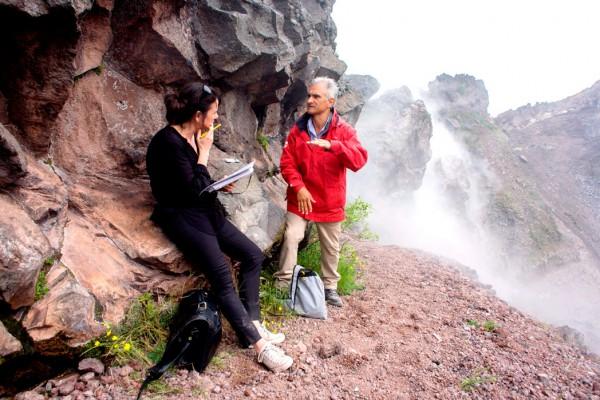 Polly Morland and vulcanologist Giuseppe Mastrolorenzo